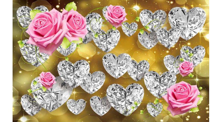 Фотообои 3D Розы и бриллианты