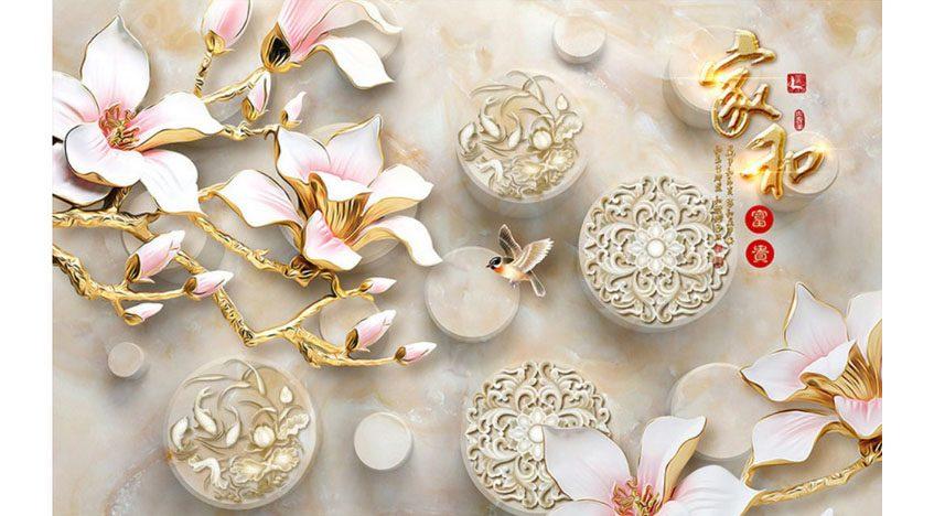 Фотообои 3D Цветы на мраморном фоне