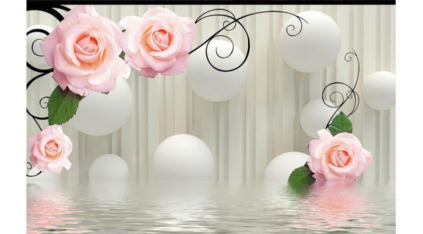 Фотообои 3D Розы на фоне кругов