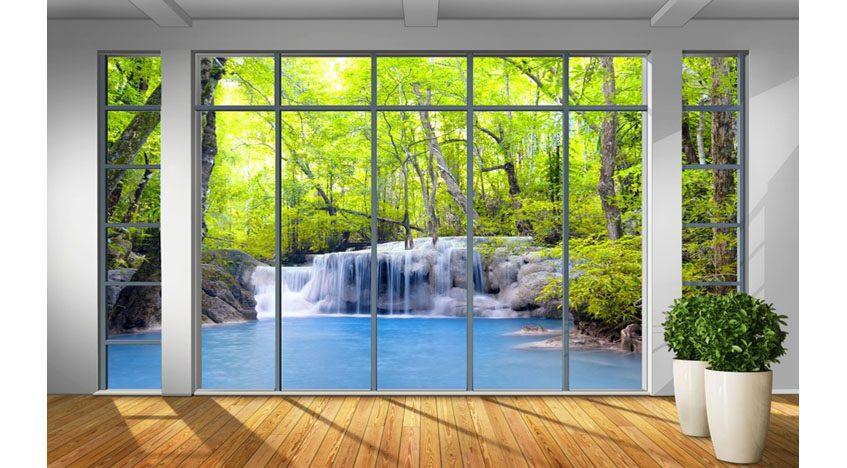 Фотообои 3D Вид из окна на водопад