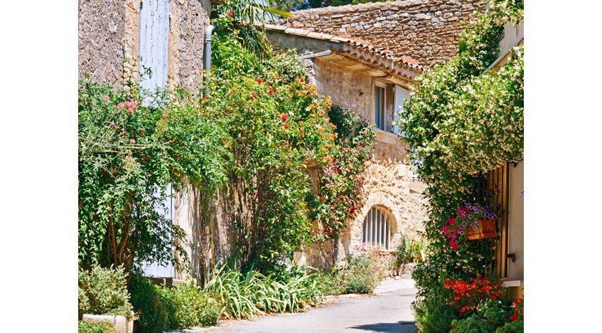 Фотообои Живописный дворик с каменными домами и зеленью
