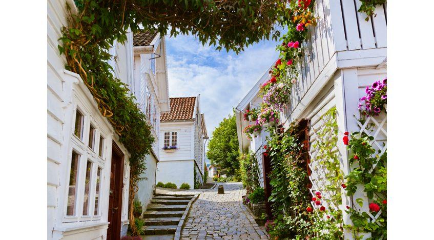 Фотообои Старые улочки Ставангера Норвегия