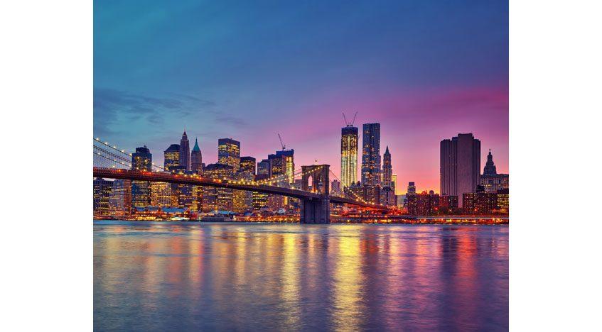 Фотообои Бруклинский мост ночью, Нью-Йорк, Манхэттен, США