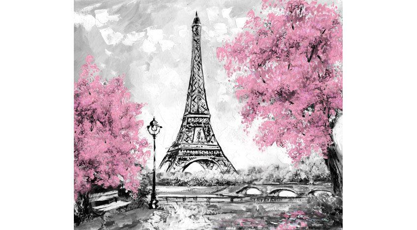 Фотообои Эйфелева башня в Париже. Нежный пейзаж маслом